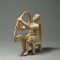 Marble seated harp player<br />
