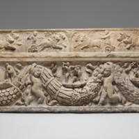 Marble sarcophagus with garlands and the myth of Theseus and Ariadne